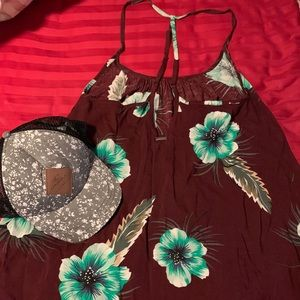 Volcom floral dress with new free Oneil cap